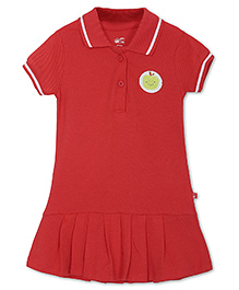 FS Mini Klub Short Sleeves Frock Apple Patch - Red