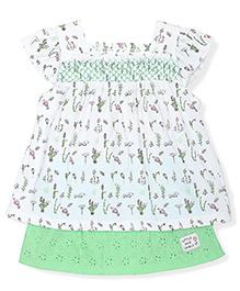 FS Mini Klub Cap Sleeves Floral Print Dress - White And Green