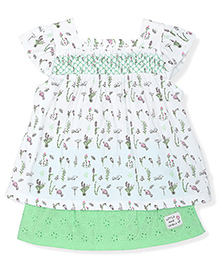FS Mini Klub Cap Sleeves Floral Print Dress - White And Green