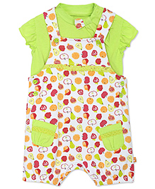 FS Mini Klub Short Sleeves Printed Dungaree With Top - White And Green