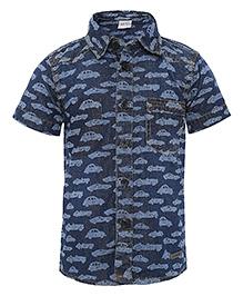 FS Mini Klub Denim Shirt Car Print - Blue