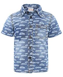 FS Mini Klub Denim Shirt Car Print - Light Blue