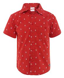 FS Mini Klub Half Sleeves Shirt Ship Print - Red