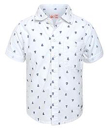 FS Mini Klub Half Sleeves Shirt Ship Print - White