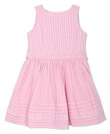 FS Mini Klub Sleeveless Frock Lace Detailing - Pink