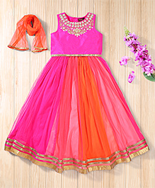 Twisha Elegant Shaded Lehanga With  Embroidered Choli And Dupatta - Fuchsia Pink