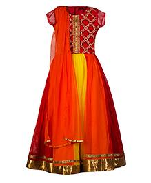 Twisha Alluring Shaded Lehanga With Embroidered Choli And Dupatta  - Red