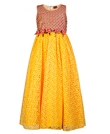 Twisha Embroidered Flare Gown With Flowers - Yellow