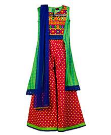 Twisha Exclusive Embroidery Long Top With Polka Palazzo - Green And Red