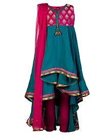 Twisha Exclusive Brocade Kurta, Legging & Dupatta Set - Pink & Blue