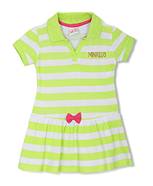 FS Mini Klub Short Sleeves Stripe Frock Bow Applique - Green White