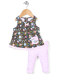 Happi by Dena Flower Print Top & Leggings - Black & Pink