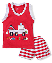 Child World Sleevelss T-Shirt And Shorts Set Tow Truck Embroidery - Red