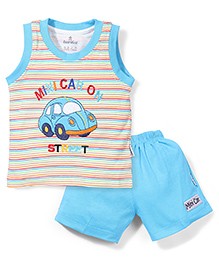 Child World Contrast Neckline T-Shirt And Shorts Car Embroidery - Aqua Blue White