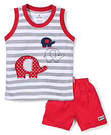 Child World Sleeveless T-Shirt And Shorts Elephant Embroidery - Grey & Red