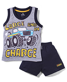 Child World Sleeveless T-Shirt And Shorts Vehicle Print - Grey Navy