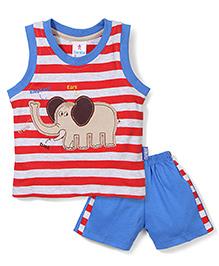 Child World Sleeveless T-Shirt And Shorts Set Elephant Patch - Red Blue