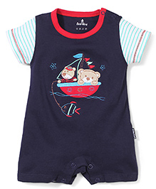 Child World Half Sleeves Romper Teddy Patch - Blue