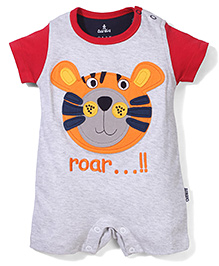 Child World Half Sleeves Roar Embroidered Romper - Grey & Red