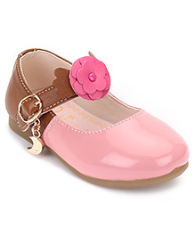 Season Bear Mary Jane Shoes With Flower - Pink