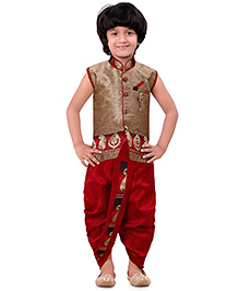 Jeet Ethnics Sleeveless Kurta & Dhoti Set With Welt Pocket - Maroon