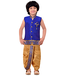 Jeet Ethnics Silk Blended Sleeveless Dhoti Kurta Set - Royal Blue