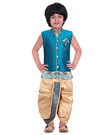 Jeet Ethnics Silk Blended Sleeveless Dhoti Kurta Set - Aqua Blue
