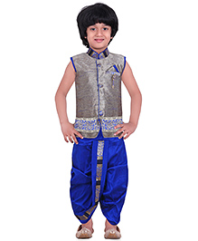 Jeet Ethnics Silk Blended Sleeveless Dhoti Kurta Set - Grey & Royal Blue