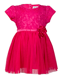 Soul Fairy Lace Yoke Net Dress With Corsage  - Fuschia