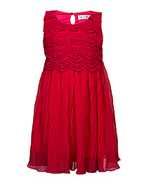 Soul Fairy Lace Yoke Pleated Dress - Fuchsia Pink