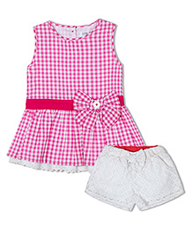 Soul Fairy Gingham Checks Tunic With Bow & Lace At Hem Lace Shorts - Pink
