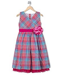 Soul Fairy Multi Checks Overlap Dress With Net Peep Out - Hot Pink