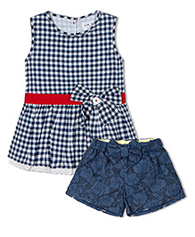 Soul Fairy Gingham Checks Tunic With Bow & Lace At Hem  Lace Shorts   - Navy