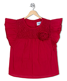 Soul Fairy Flutter Sleeves Top - Red