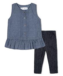 Soul Fairy Polka Chambray Pintuck Top With Leggings - Grey & Black