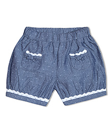 Soul Fairy Dobby Chambray Shorts With Lace - Indigo