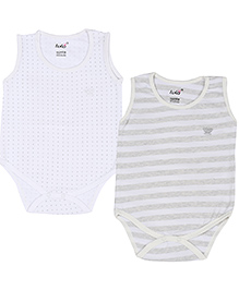 Lula Sleeveless Onesies Set Of 2 Butterfly Embroidery - Light Grey White