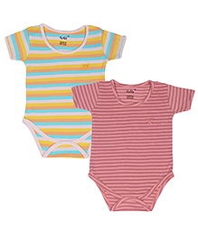 Lula Half Sleeves Striped Onesies Set Of 2 - Yellow Pink