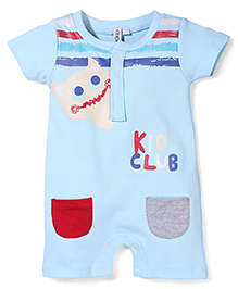 Mickey Kido Club Print Short Sleeves Rompers - Aqua Blue