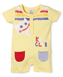 Mickey Kido Club Print Short Sleeves Rompers - Yellow