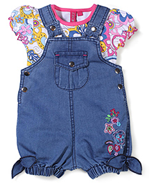 Mickey Dungaree With Puff Sleeves Top Floral Print - Light Denim Blue