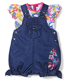 Mickey Dungaree With Puff Sleeves Top Floral Print - Blue White