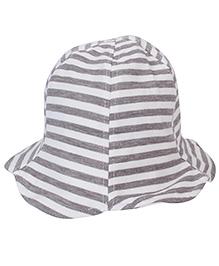 Little Wonder Striped Bucket Hat - White & Grey