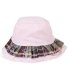 Little Wonder Solid & Plaid Pattern Cap - Pink
