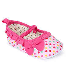 Cute Walk by Babyhug Booties Bow Applique - Pink White