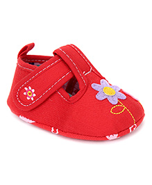 Cute Walk by Babyhug Booties Floral Patch Work - Red