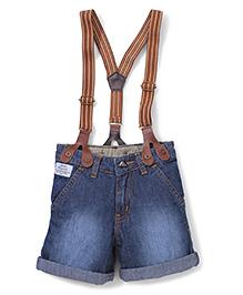 Babyhug Turn-Up Shorts With Suspenders - Dark Blue