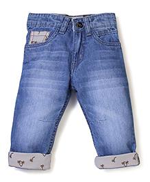 Babyhug Stone Washed Palm Printed Turn-Up Style Jeans - Light Blue