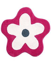 Saral Home Premium Quality Bath Mat Flower Shape - Pink And White