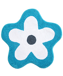 Saral Home Premium Quality Bath Mat Flower Shape - Blue And White